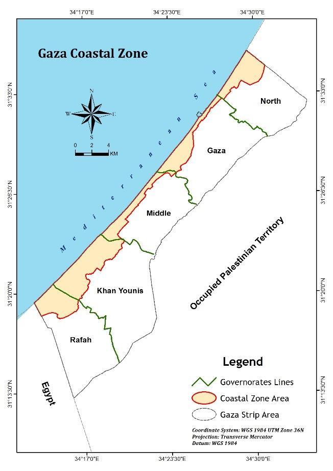 3.2 General Description of Study Area The coastal zone of the Gaza Strip is a narrow piece of land lying on the eastern coast of the Mediterranean Sea.