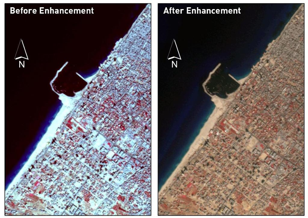 "Figure (4.3): Image enhancement ""before and after"" for SPOT-5 satellite image using ERDAS in year 2004. 4."