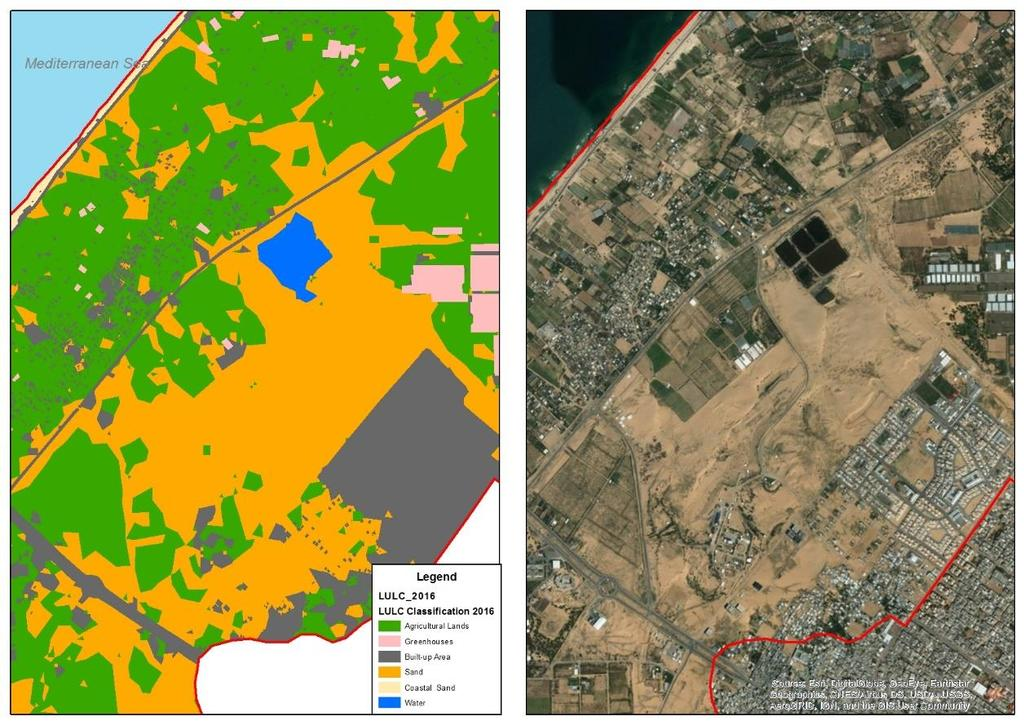 Figure (5.5): Examples of verification on classification process in map 2016 To verify the results of the analysis, Google Earth images 2016 were compared with the results of analysis classifications.