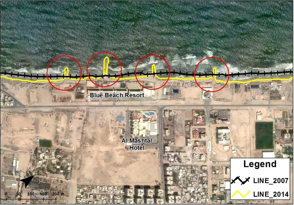 "The study shows that the erosion is growing during this periods even after many groins were built in Al-Sudaniya area ""Blue Beach Resort"", however, erosion continues in this zone as shown in Figure"