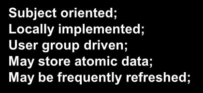 Subject oriented; Locally implemented; User group driven; May store atomic data; May be